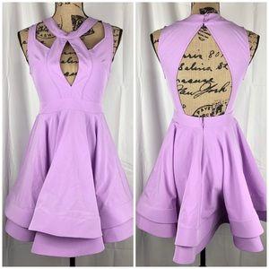 Luxxel Dresses - Luxxel Cutout Flare Dress Lavender Dress Size S